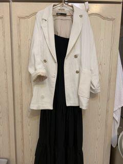 Zara 白色棉麻厚款西裝外套  (不含穿搭洋裝)