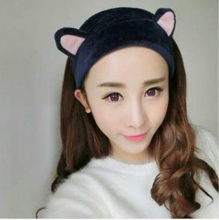 全新可愛日系藏青色明星網紅寬版貓咪耳朵貓耳造型洗臉彈性束髮帶