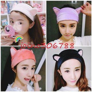 全新可愛日系紫色明星網紅寬版貓咪耳朵貓耳造型洗臉彈性束髮帶