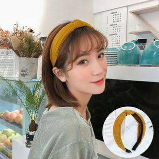 全新日系甜美可愛棕色素色打結纏繞寬版髮箍