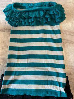 #618 平口針織條紋豐滿小可愛上衣