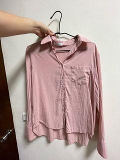 粉嫩紅長袖襯衫~