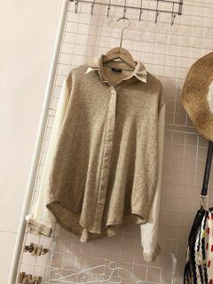 保留中⏳goo📖正韓雙層領異材質拼接襯衫