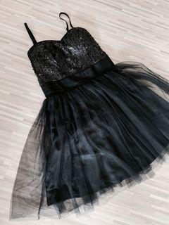 Black sequin mesh prom dress