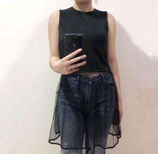 black sleeveless tank top sheer skirt