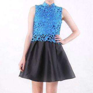 ESYE blue cheongsam dress
