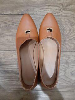 flat shoes kulit asli