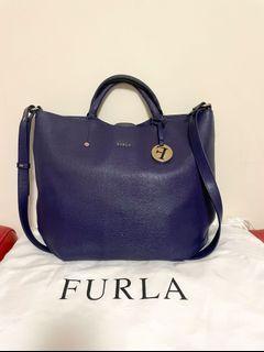 Furla 2way Alissa navy calfskin handbag large tote bag 兩用手袋