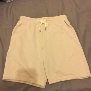 GU 棉短褲 米白