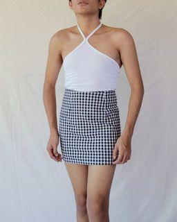 High Waisted Gingham Skirt