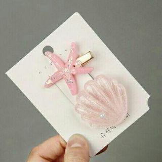 全新ins可愛流行網紅粉色海洋系海星貝殼兩件套組瀏海夾BB夾髮夾髮飾品