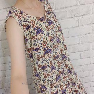 JAGANNATH🇯🇵粗亞麻印花洋裝/工作圍裙