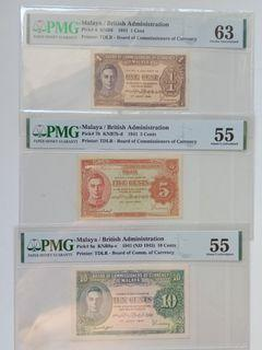 Malaya 1941 George VI Bank Note Set: 1 Cent, 5 Cents, 10 Cents ( 3 Pieces )