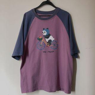 odd maker 熊貓拼接短袖t恤 圓領上衣Tee 夏季