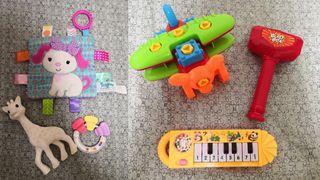 蘇菲長頸鹿+貝親固齒器+taggie咬布標籤玩具+飛機及鋼琴玩具