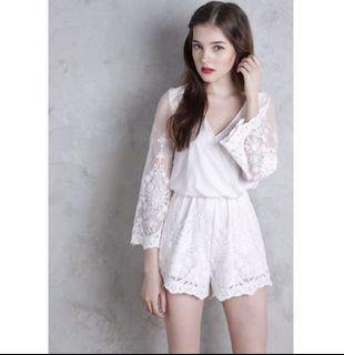 The Tinsel Rack White Lace Long Sleeved Amora Romper