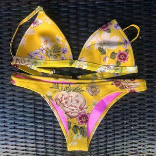 Triangl Yellow Floral Neoprene Bikini - M