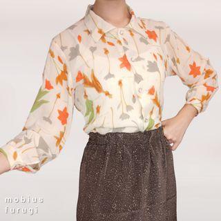Y0212 手繪 插畫 花卉 長袖 襯衫 復古 古著 日式