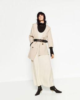 Zara double breasted with hooded coat