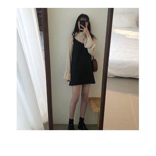 9成新 法式顯瘦黑色背帶連衣裙