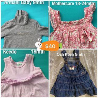 BN 3pc tops 6mths Osh Kosh for Boys @$50, 9 to 18 mth girls set @$ 40, longsleeve swimsuit, wetsuit, Baby Guess, Ralph Lauren, nicholas & bears, Burberry, Petit Bateau for 18mth to 2Y