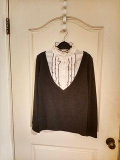 假兩件黑色針織排釦襯衫