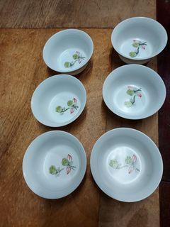 手繪   雙蓬蓮 茶碗杯6個