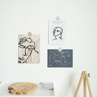 [全新] 現貨   北歐風個性線條藝術畫牆上裝飾卡片 3入組 (也可當拍照道具唷)