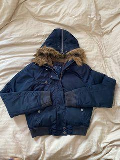 AMERICAN EAGLE navy blue winter jacket with fur trim - SIZE SMALL