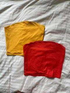 GARAGE tube tops in orange and yellow colour - SIZE XSMALL
