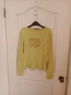Hang Ten 蘋果綠棉質字母長袖上衣