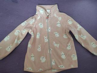 H&M女幼童粉色兔仔狗仔圖案外套 size:12-18M