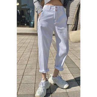 韓貨LABOR 白色雙釦車線男友褲M