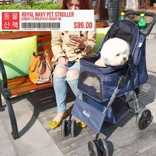 Navy Dog Stroller Pet Trolley Cat Pram