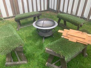 Outdoor fire pit and benches + wood