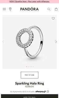 pandora sparkling halo ring