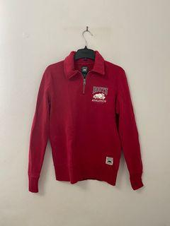 ROOTS Athletics Original Polo Zip Sweater in red - SIZE XSMALL