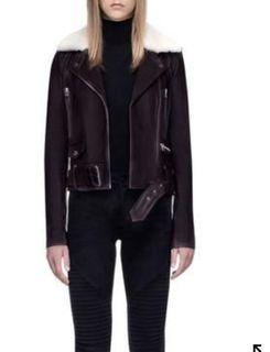 Rudsak leather jacket with removable shearling-fur collar