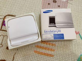 三星Samsung Galaxy Note 2 II Extra Battery Kit 白色 N7100 原廠電池充電器 (電池3100mAh)電池+座充