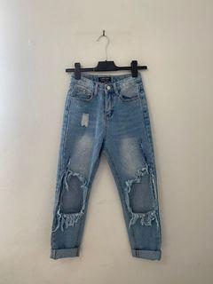 SHEIN Light wash, extreme ripped denim jean pants, size xs or 24 waist