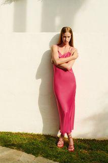 Zara satin camisole dress - neon fuschia