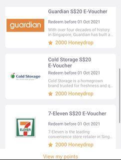 $20 Free vouchers 7-11 giant Cold Storage