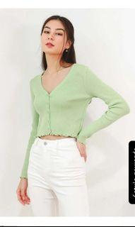 6style.co I Knit You Cardigan in Pistachio Green
