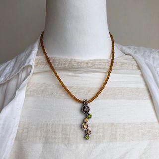 玻璃鑽棕色米珠項鍊