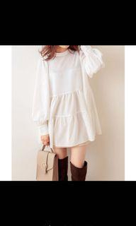 日牌 白色兩面穿雪紡蛋糕裙洋裝 純白 蛋糕裙 澎澎袖 兩面穿 綁帶