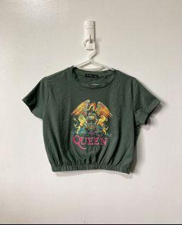 Bershka Band shirt crop top