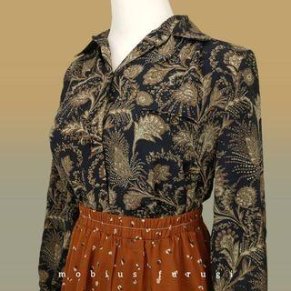 BK0213 歐式 花卉 捲紋 長袖 襯衫 復古 古著 王宮 宮廷