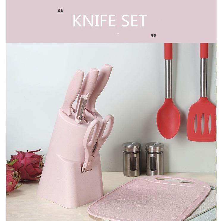 Knife Set Pink Furniture Home Living Kitchenware Tableware Knives Chopping Boards On Carousell