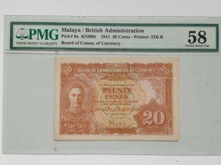 Malaya 1941 George VI 20 Cents Bank Note