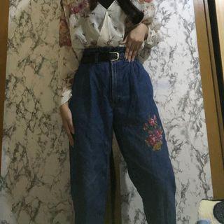 Mom jeans/ High waist floral denim